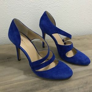 SOLE SOCIETY BLUE SUADE HEELS